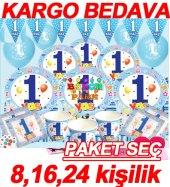 1 Yaş Erkek Mavi Doğum Günü Balon Ve Parti Süsleri Seti Kişi Sayı