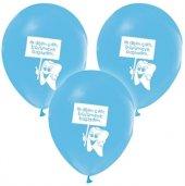 64 Adet Mavi İlk Diş Buğdayı Balonu Dişim Çıktı Baskılı Uçan
