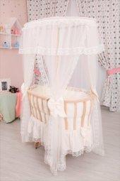 Bebekonfor Krem Fransız Dantel Uyku Set Doğal Ahşap Çatılı Sepet Beşik