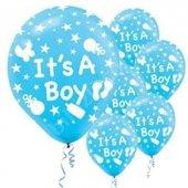 56 Adet Mavi Its A Boy Balonu Hastane Bebek Balloon Doğum Odası