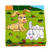 Ahşap Tavşan Küp Bloklar 6 Farklı Şekil Olabilen Puzzle Yapboz