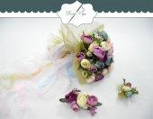Gelin Çiçeği Simli Fileli Tüllü Krem Lila Mavi Çiçekli Gelin Tokası Şakayık Set
