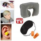 Seyahat Yastığı Göz Bandı Kulak Tıkacı 3lü Set