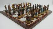 Satranç Takımı, Roma Ve Truva Askerleri, Polyester Döküm, El Boyama, Hediyelik