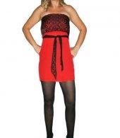 Dantelli Kırmızı Straplez Mini Elbise