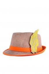 Neon Turuncu Melek Kanatlı Fötr Şapka