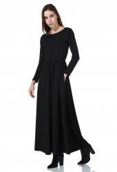 Siyah Maxi Cepli Uzun Bayan Elbise