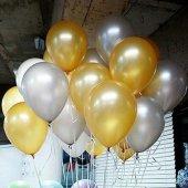25 Adet Metalik (Gold Altın Sarısı Gümüş Gri) Balon Helyumla Uçan