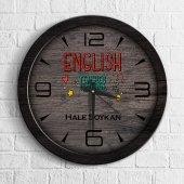 Kişiye Özel Mesleki İngilizce Öğretmeni Ahşap Duvar Saati 3