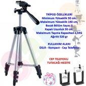 Nikon D7500 Fotoğraf Makinesi İçin 140cm Profesyonel Tripod 2,5kg