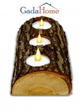 Gadahome Doğal Ağaç Dilimi 3lü Ahşap Mumluk