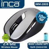 ınca Iwm 280s 2.4ghz 1600 Dpi Inca Track Red Sensör Wireless Nano Alıcılı Mouse Gri