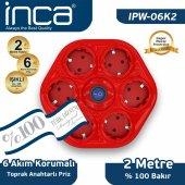 ınca 100 Türk Tasarımlı 6lı Oval Akım Korumalı Işıklı Priz 2metre Kırmızı