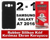 Samsung A7 2016 Rubber Lüks Silikon Kılıf+kırılmaz Cam Ekran Koru