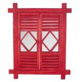 Home Stuff Kırmızı Ahşap Duvar Aynası 62x3x76 Cm
