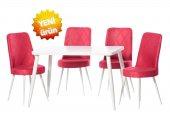 Teknoset Gold Serisi Beyaz Kırmızı Mutfak Masa Sandalye Takımı