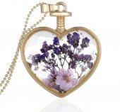 Frilly Kuru Çiçek Kalp Kolye (Fkk104v)
