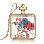 Frilly Cam Çerçeve Kuru Çiçek Kolye (Fkk682)