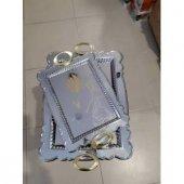 Kararmaz Gümüş Kaplama Gold Parlak 2 Li Tepsi Seti Nişan Tepsisi Çay Tepsisi