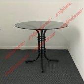 Yuvarlak Mutfak Cam Masası Siyah Gövde Füme Cam 90cm