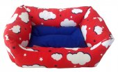 Catia Bulut Desenli Kırmızı Mavi Kedi Köpek Yatağı 15 40 50 Cm