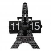 Eyfel Kulesi Yapraklı Çevirmeli Metal Flip Masa Saati