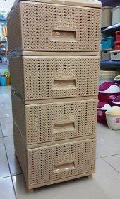 örgü Desenli Plastik Komidin 4 Çekmeceli (Yeni Ürün)