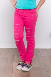 Ottomama Kız Çocuk Lazer Kesikli Pantolon Fuşya Renk