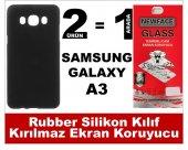 Samsung A3 Rubber Lüks Silikon Kılıf+kırılmaz Cam Ekran Koruyucu