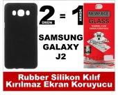 Samsung J2 Rubber Lüks Silikon Kılıf+kırılmaz Cam Ekran Koruyucu