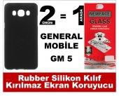 General Mobile Gm5 Rubber Lüks Silikon Kılıf+kırılmaz Cam Ekran K