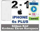 Iphone 6s Plus Silikon Kılıf + Soffany Kırılmaz Ekran Koruyucu