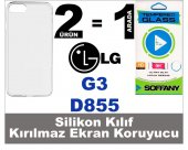Lg G3 Silikon Kılıf + Kırılmaz Ekran Koruyucu