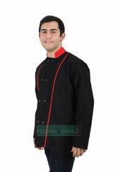 Aşçı Ceketi Siyah Kırmızı Çizgili