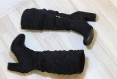 Topuklu Süet Çizme (Siyah)