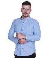Brango 12507 16 Dar Kesim Şamre Kumaş Baskılı A Mavi Gömlek