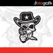 Otografik Şerif Kurukafa Skull Oto Stıcker