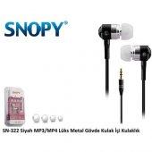 Snopy Sn 322 Kulak İçi Kulaklık Siyah Metal Gövde