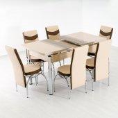 Evform Çizgi Seri Mutfak Masası Takımı Açılır Camlı Masa 6 Sandal