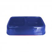 Plastik İkili Kedi Köpek Mama Su Kabı 250 + 250 Ml Mavi