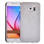 Motomo Samsung Galaxy S6 Metal Rubber Kılıf Silver