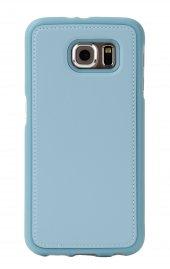 Samsung Galaxy S6 Deri Görünümlü Mavi Silikon Kılıf