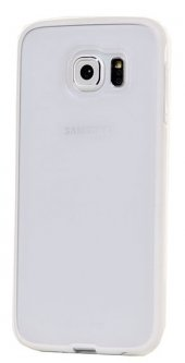 Samsung Galaxy S6 Beyaz Silikon Kenarlı Şeffaf Kılıf