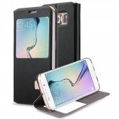 Samsung Galaxy S6 Edge Pencereli Standlı Deri Kılıf Siyah
