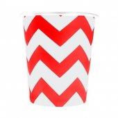 Zigzag Karton Bardak 8li Kırmızı