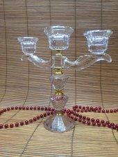 Ksv Kristal 3 Lü Şamdanlık Mumluk