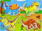 Ahşap Eğitici İp Bağlama Oyunu (Dinozorlar)