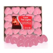 Beysüs Love Kalp Tea Lights Mum 50 Adet Pembe Renk Rose Heart S
