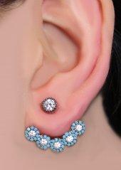 925 Ayar Gümüş Roz Altın Kaplama Turkuaz(Firuze) Taşlı Ear Jacket Küpe