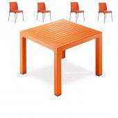 Novussi Contract Wood 90x90 Cm Kare Masa Takımı 4 Sunny Sandalye